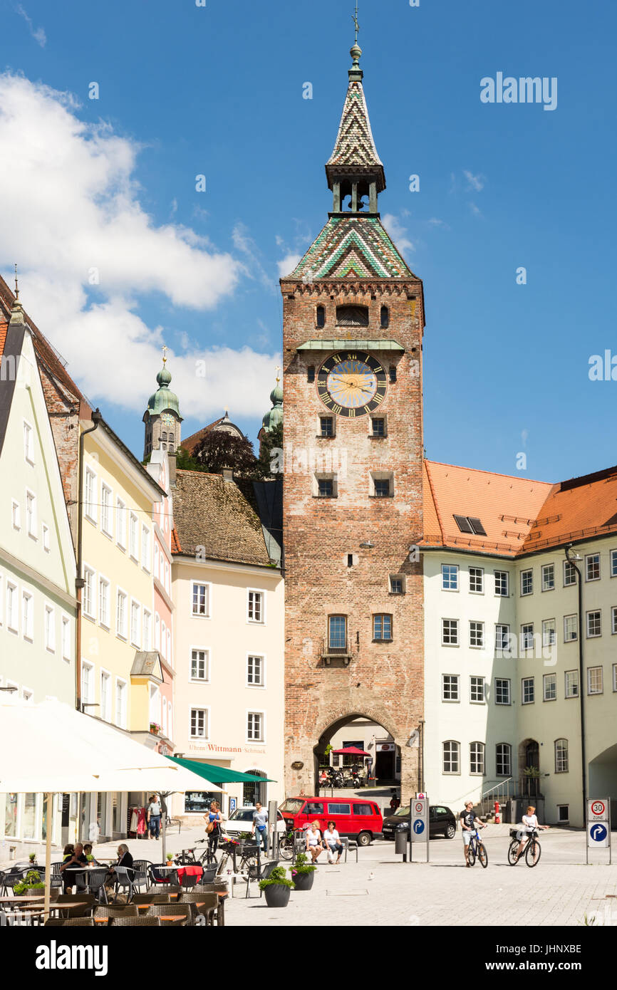 LANDSBERG AM LECH, GERMANY - JUNE 10: People at the market square of Landsberg am Lech, Germany on June 10, 2017. - Stock Image