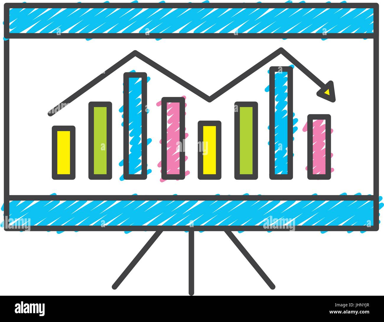 business statistic graph with documents information - Stock Image