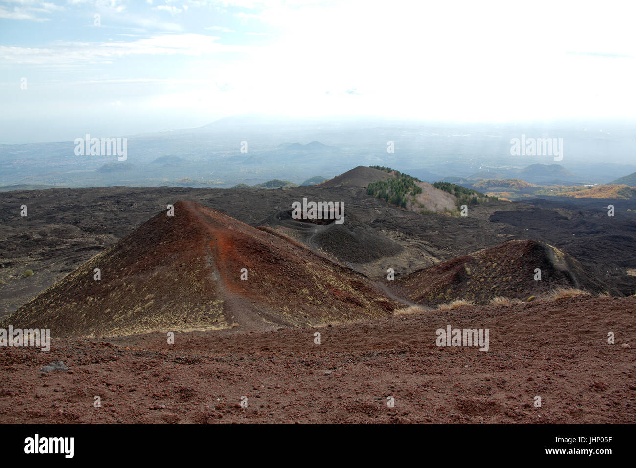 Sicily, Italy, Italia, Volcan Ethna, with lava fields from eruption and sulfur - Stock Image