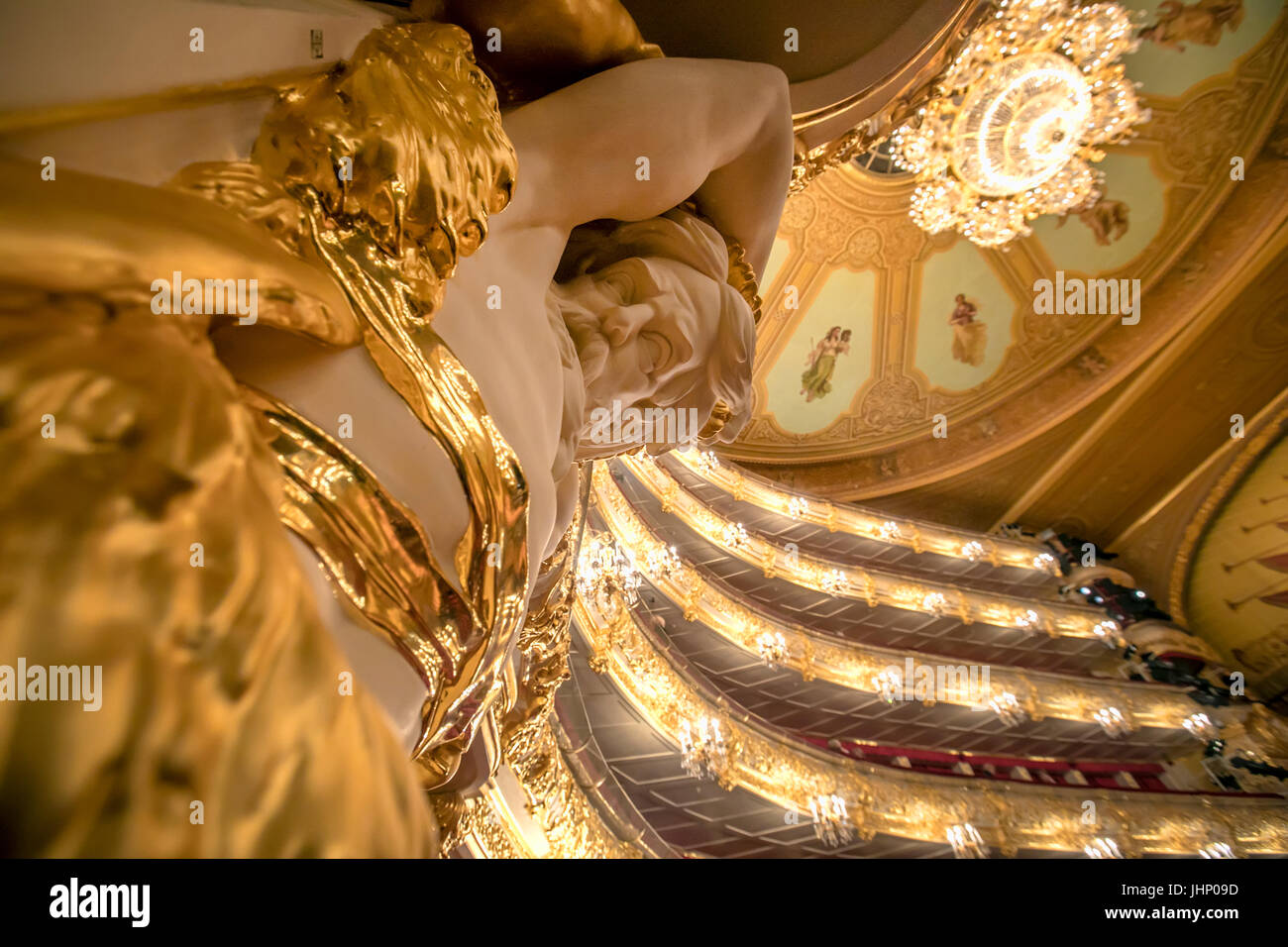 View to the interior of auditorium in the Bolshoi Theatre historic theatre of ballet and opera in Moscow, Russia - Stock Image