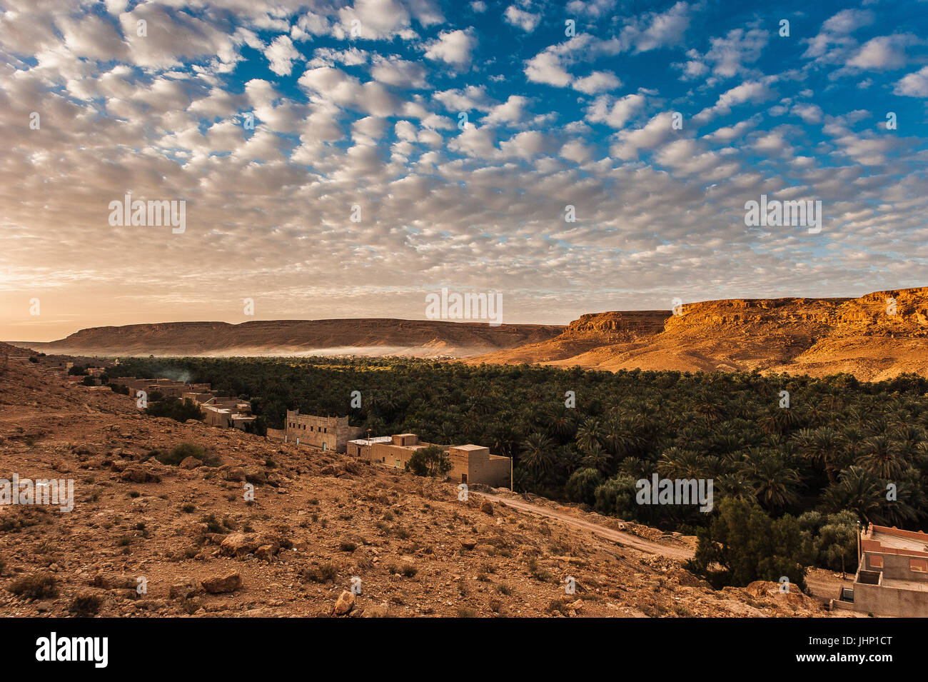 beautiful landscape outside a small village in the Draa Valley, near Zagora southern Morocco, Africa - Stock Image