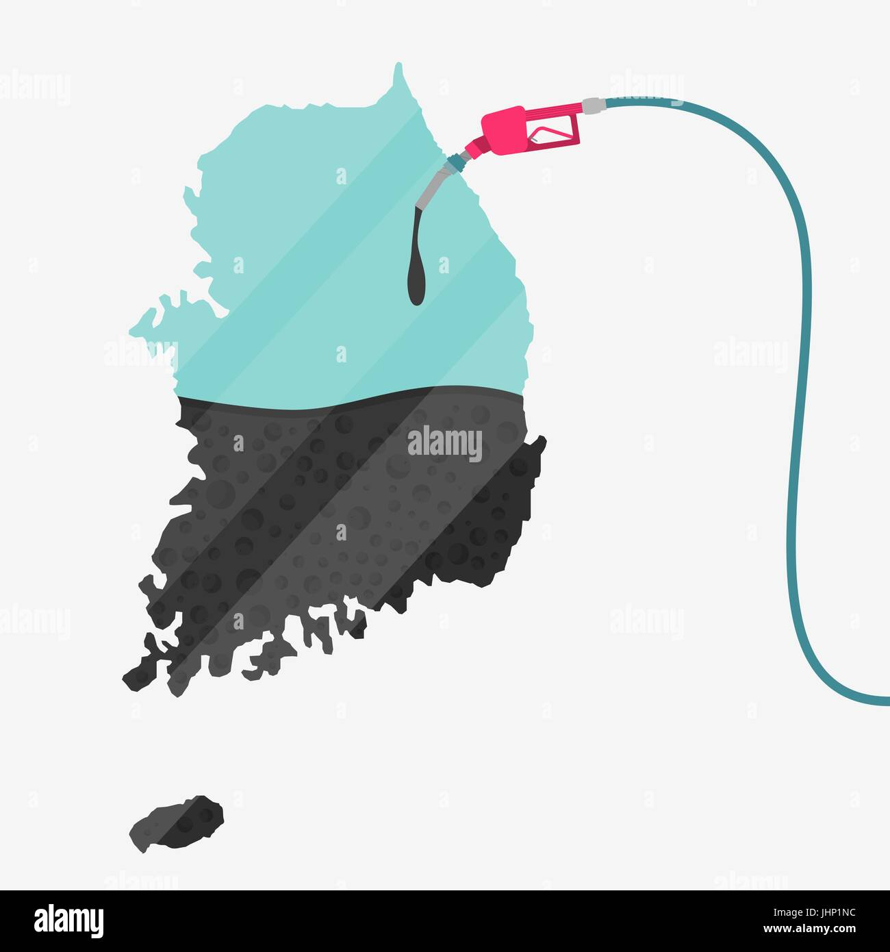 Map of South Korea being fueled by oil. Gas pump fueled map. On the map there is glass reflection. Conceptual. Oil - Stock Vector