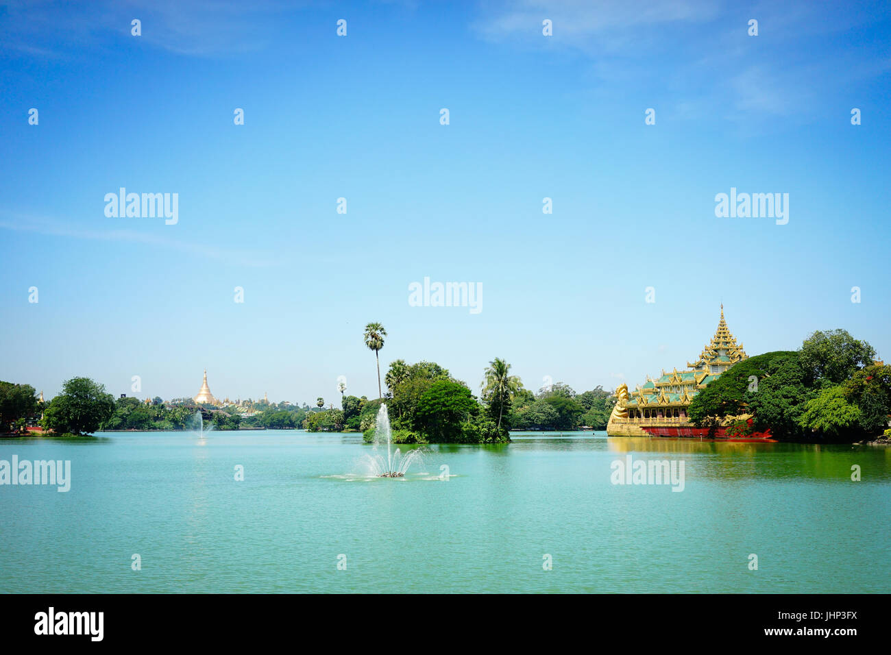 View of Karaweik Hall, a palace on the eastern shore of Kandawgyi Lake, Yangon, Myanmar (Burma). Stock Photo