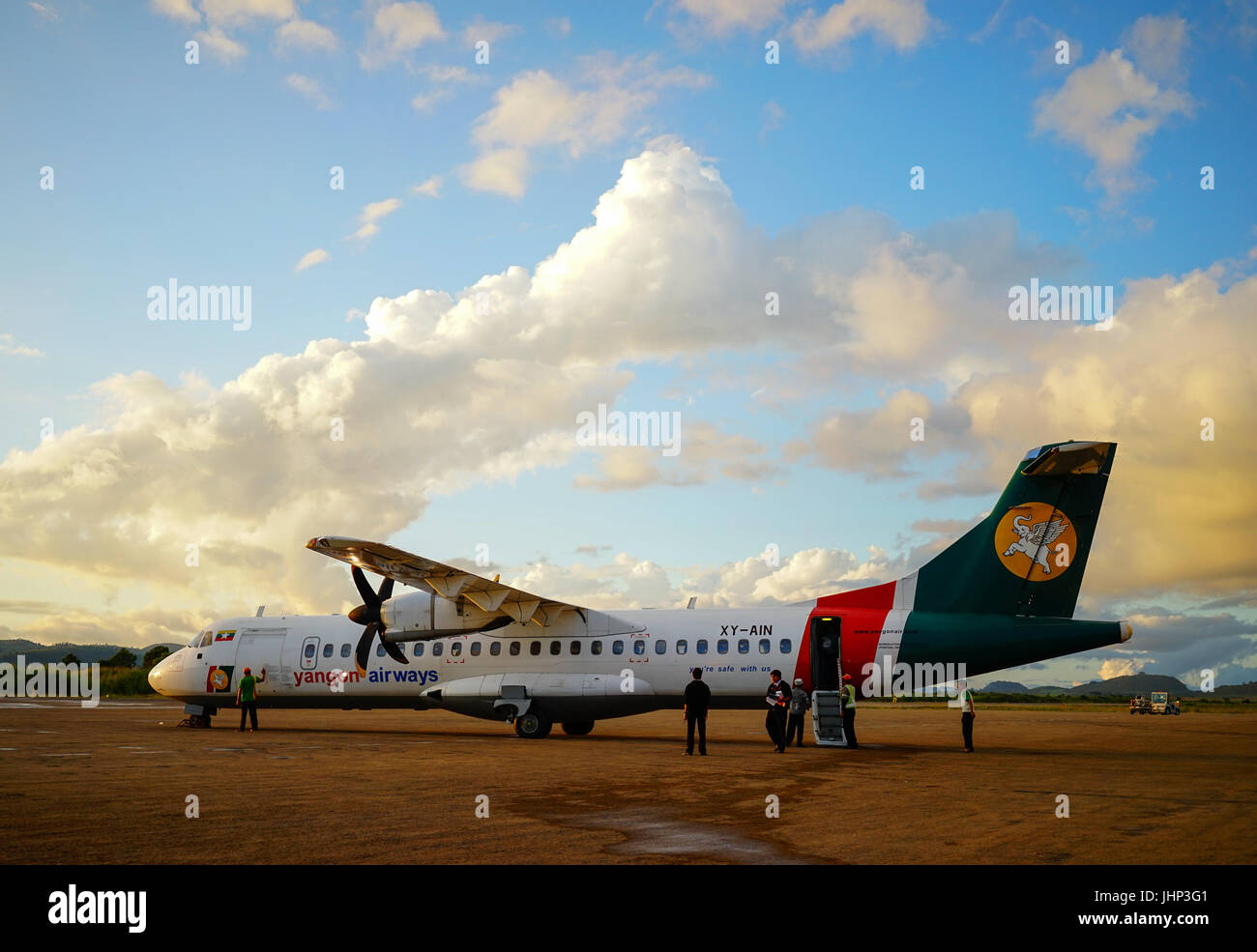 Mandalay, Myanmar - Oct 16, 2015. Civil aircraft parking at Mandalay International airport in Mandalay, Myanmar. - Stock Image
