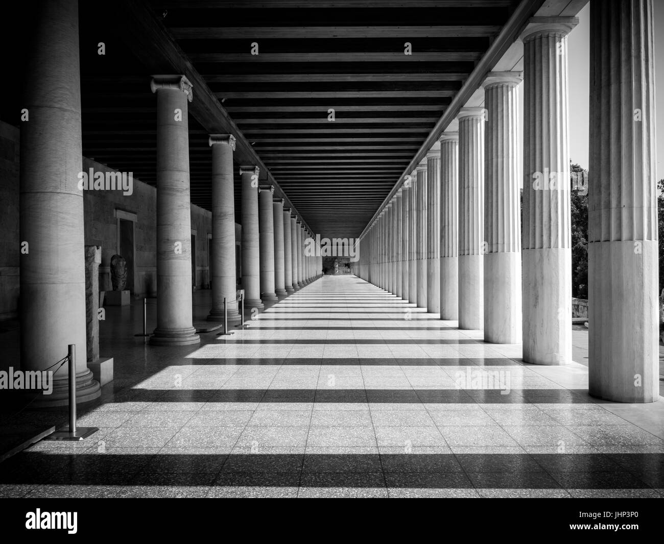 Columns at the Stoa of Attalos in the ancient Agora (Forum) of Athens - Stock Image