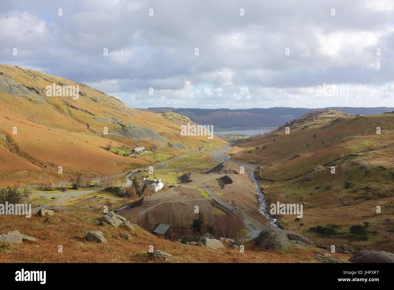 View over Coniston Copper Mines, Cumbria, England. - Stock Image