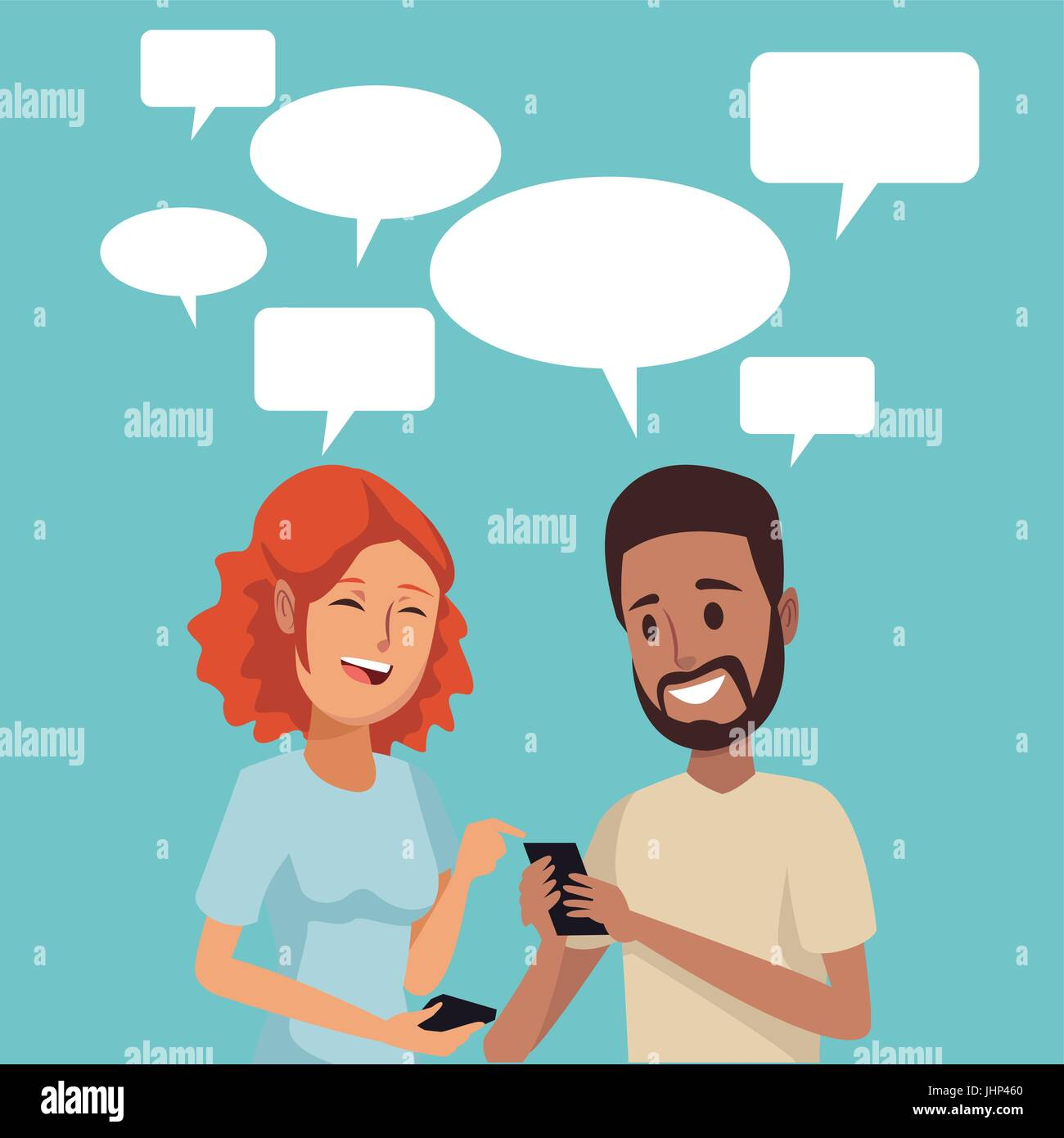 color background with couple people social network communication with dialog box - Stock Image