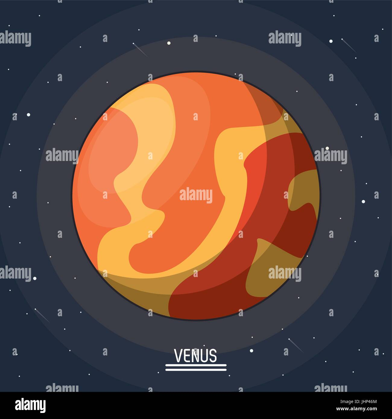 colorful poster of the planet venus in the space - Stock Image