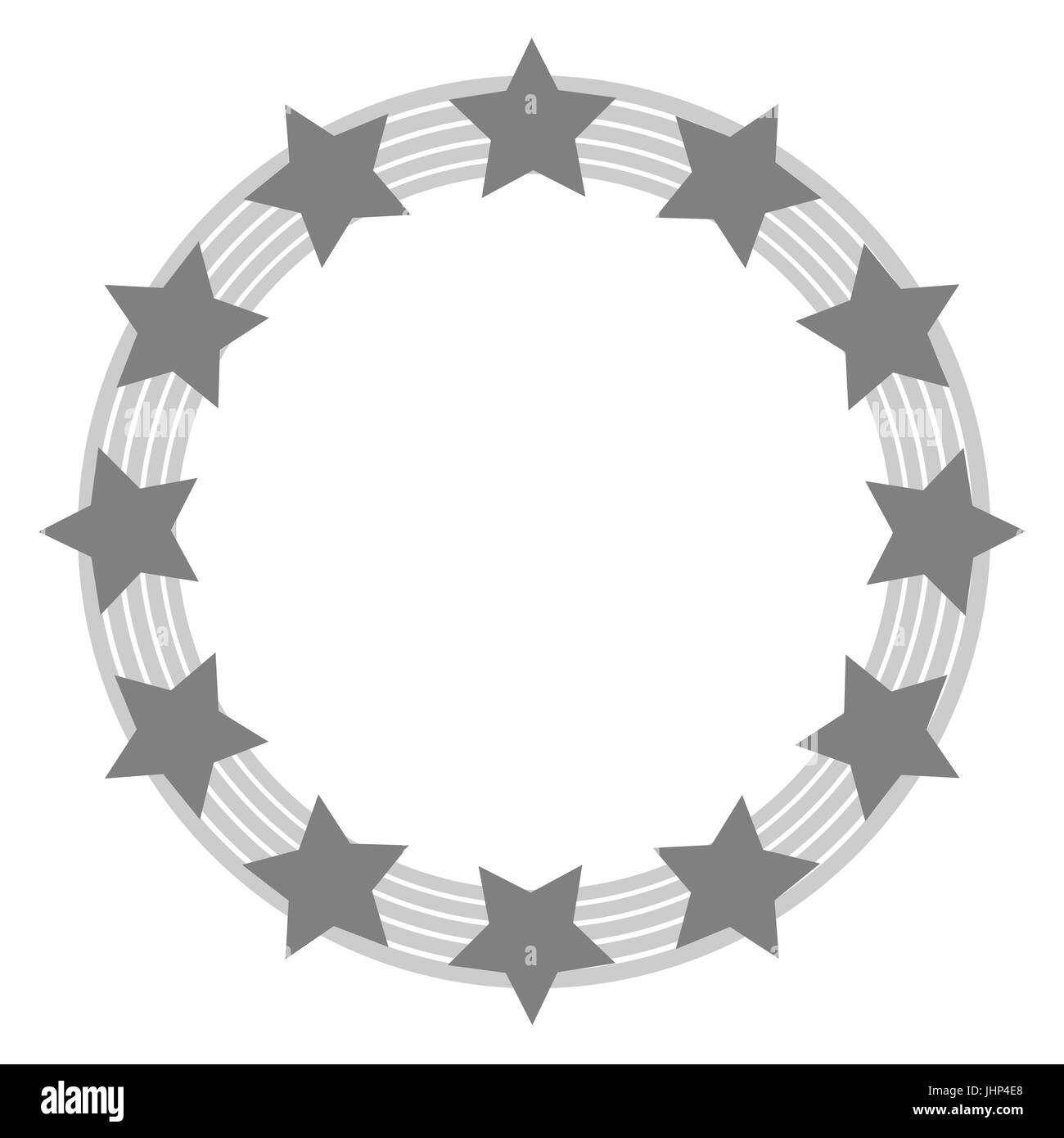 European Union symbol in grey tones with transparent middle - Stock Image