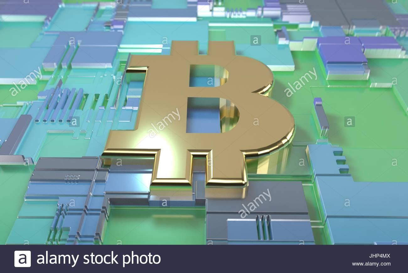 Bitcoin and circuit diagram concept, 3d render Stock Photo ...