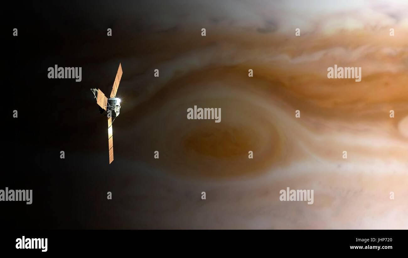 Juno spacecraft above Jupiter's Great Red Spot. Computer illustration of NASA's Juno spacecraft over Jupiter's - Stock Image
