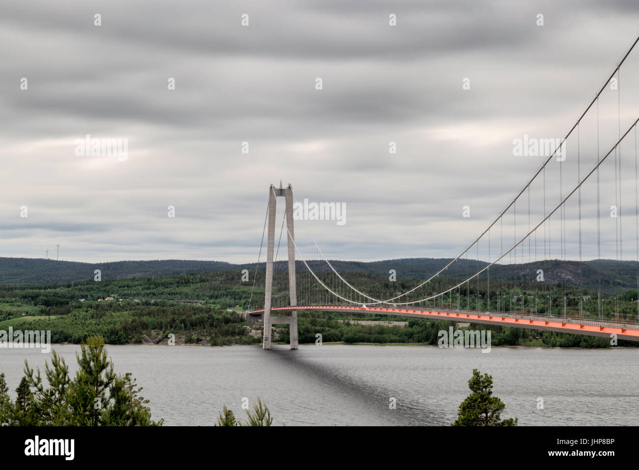 The High Coast Bride in Sweden with a cloudy sky. - Stock Image