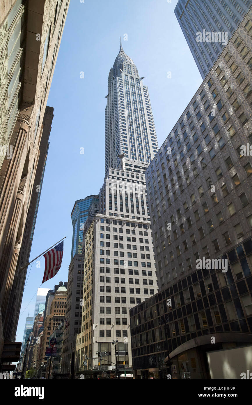looking up at the Chrysler building from Lexington Avenue New York City USA - Stock Image