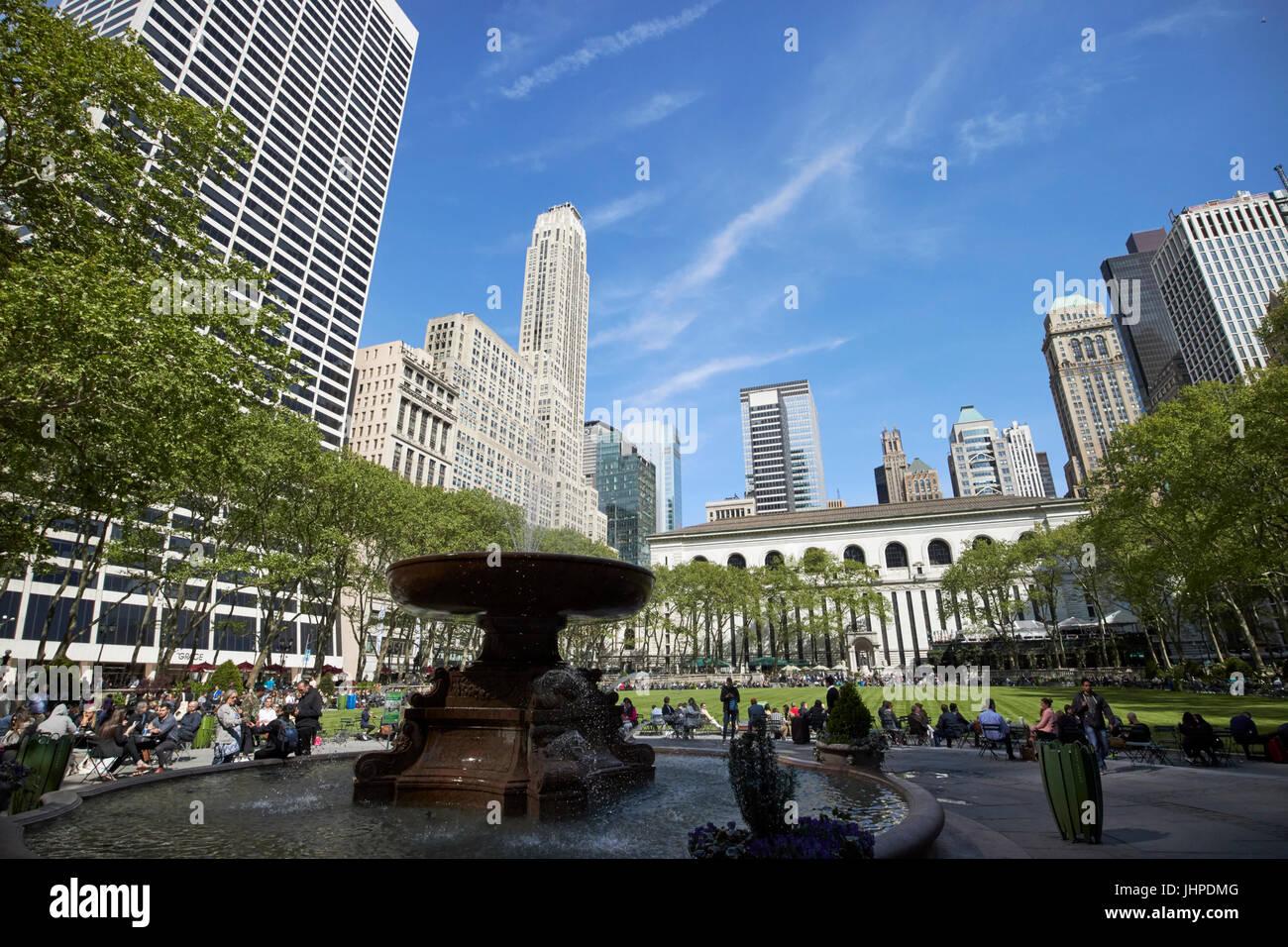 Josephine Shaw Lowell memorial fountain in bryant park New York City USA - Stock Image
