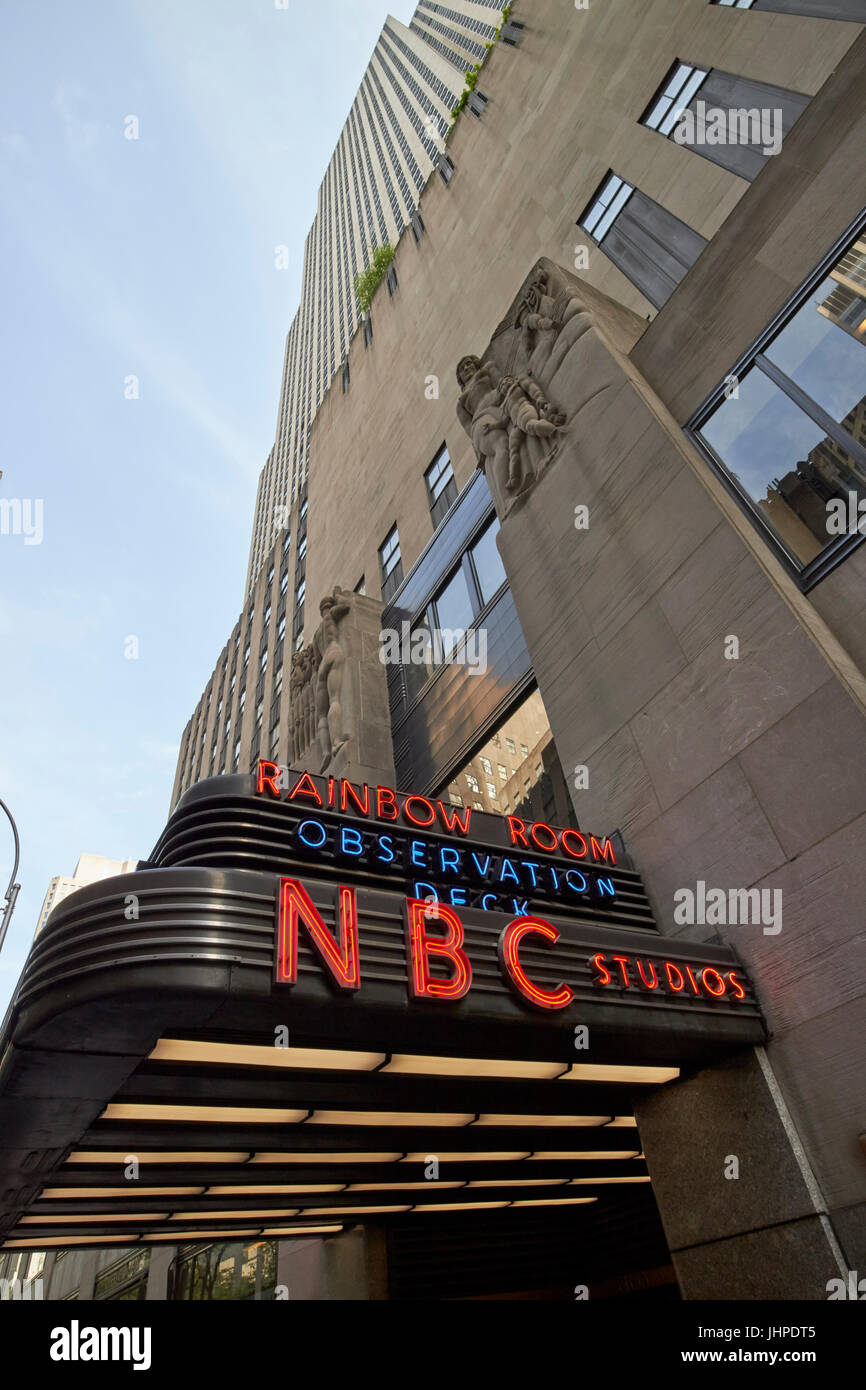 NBC studios and entrance to rainbow room 30 rockefeller plaza comcast building New York City USA - Stock Image