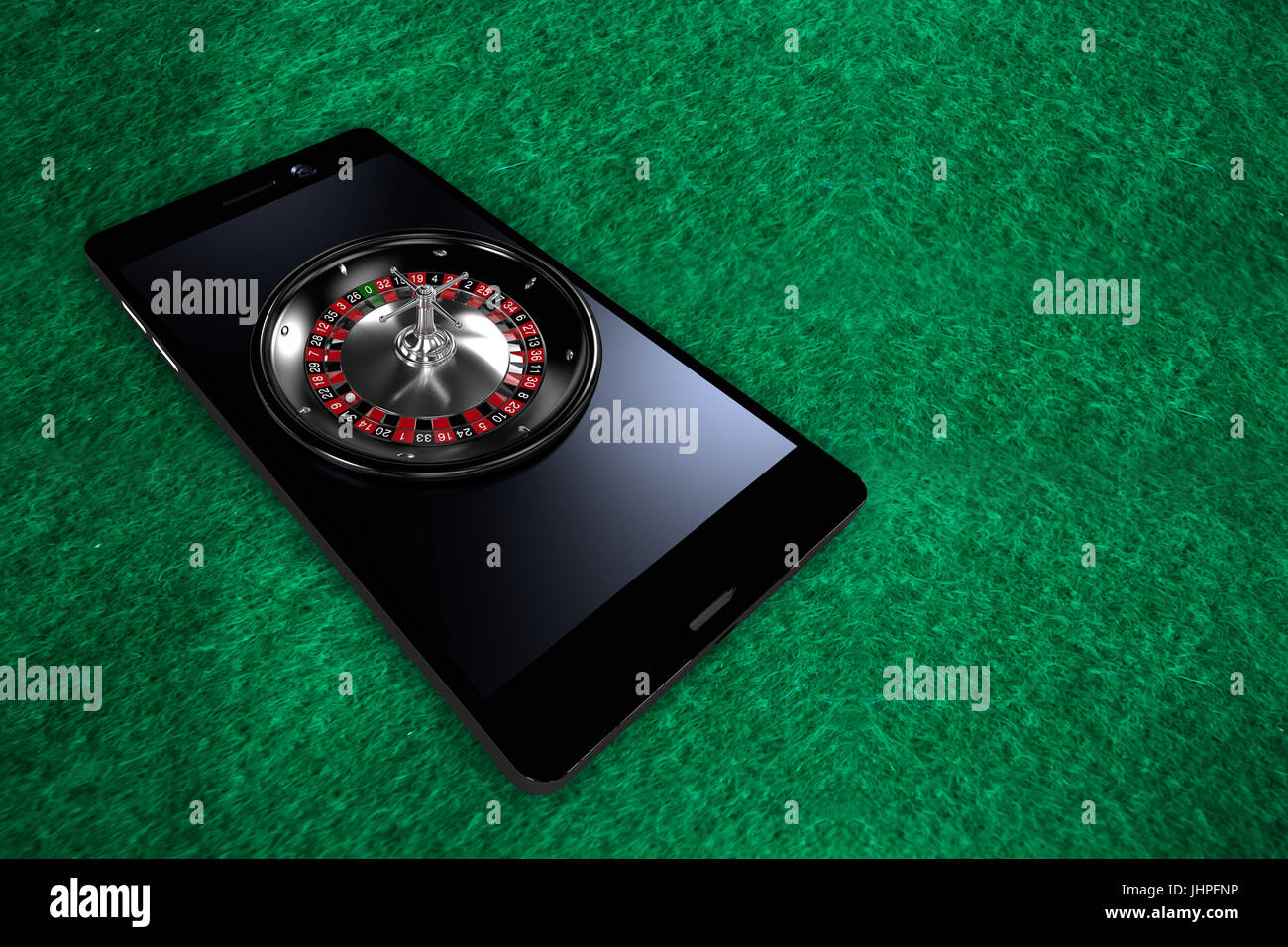 3D image of smartphone with roulette wheel against full