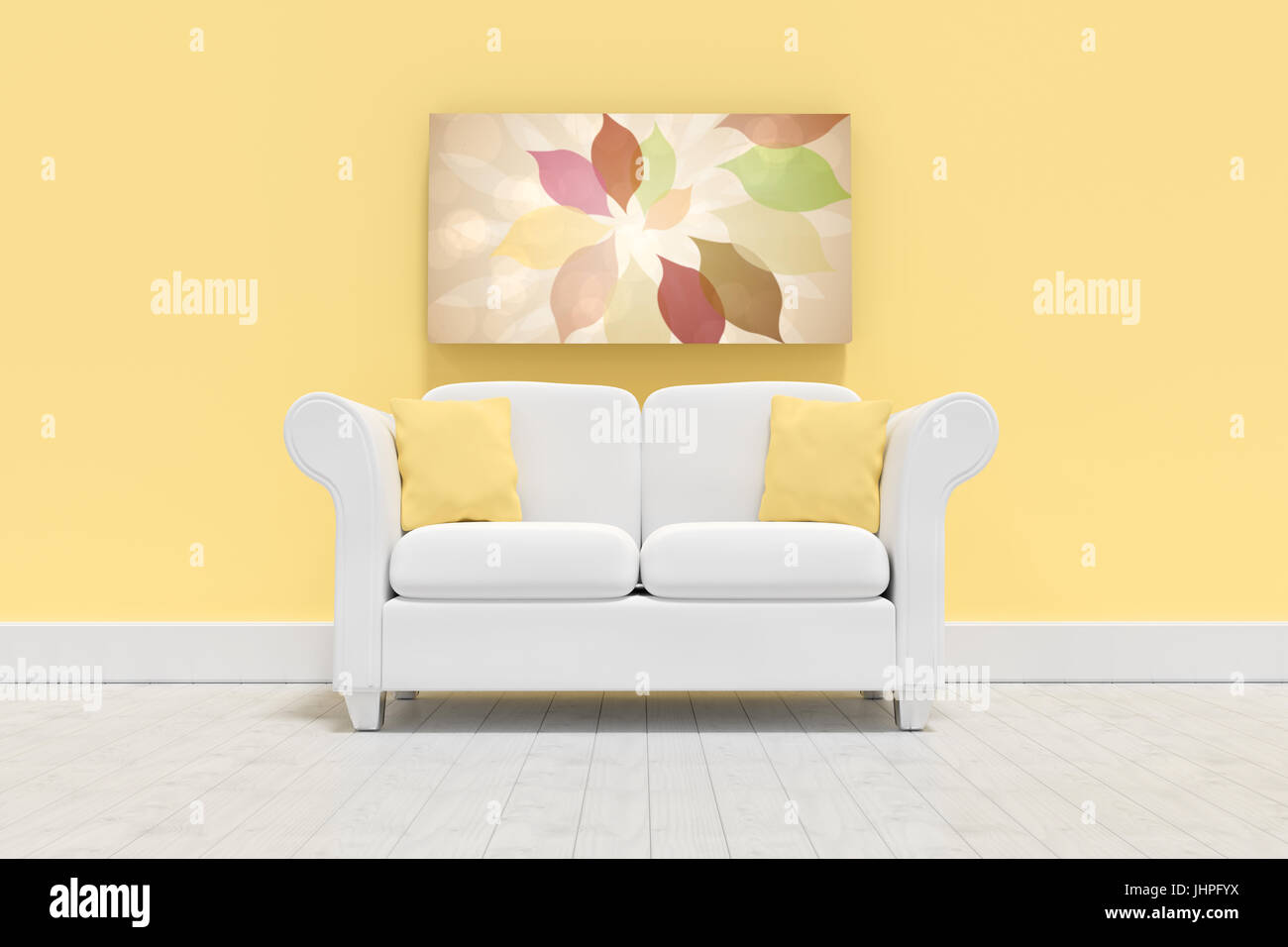 Empty couch against against yellow  against autumnal leaf pattern in warm tones - Stock Image