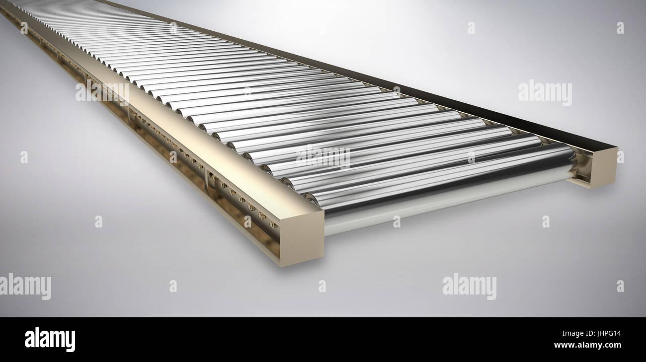 3D image of conveyor belt against grey background - Stock Image
