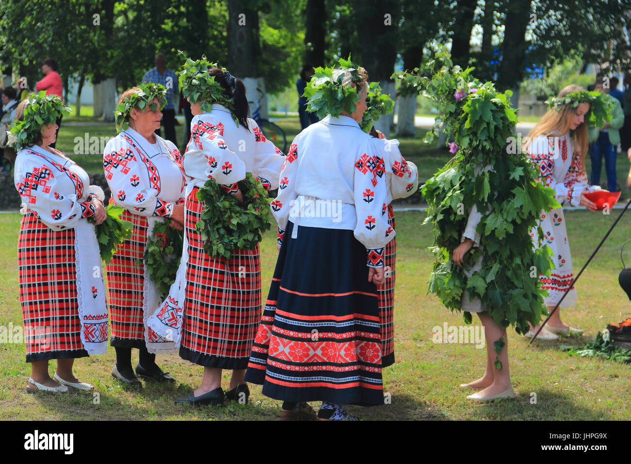 Celebrating the day of Pentecost in the village (agro-town) - Stock Image