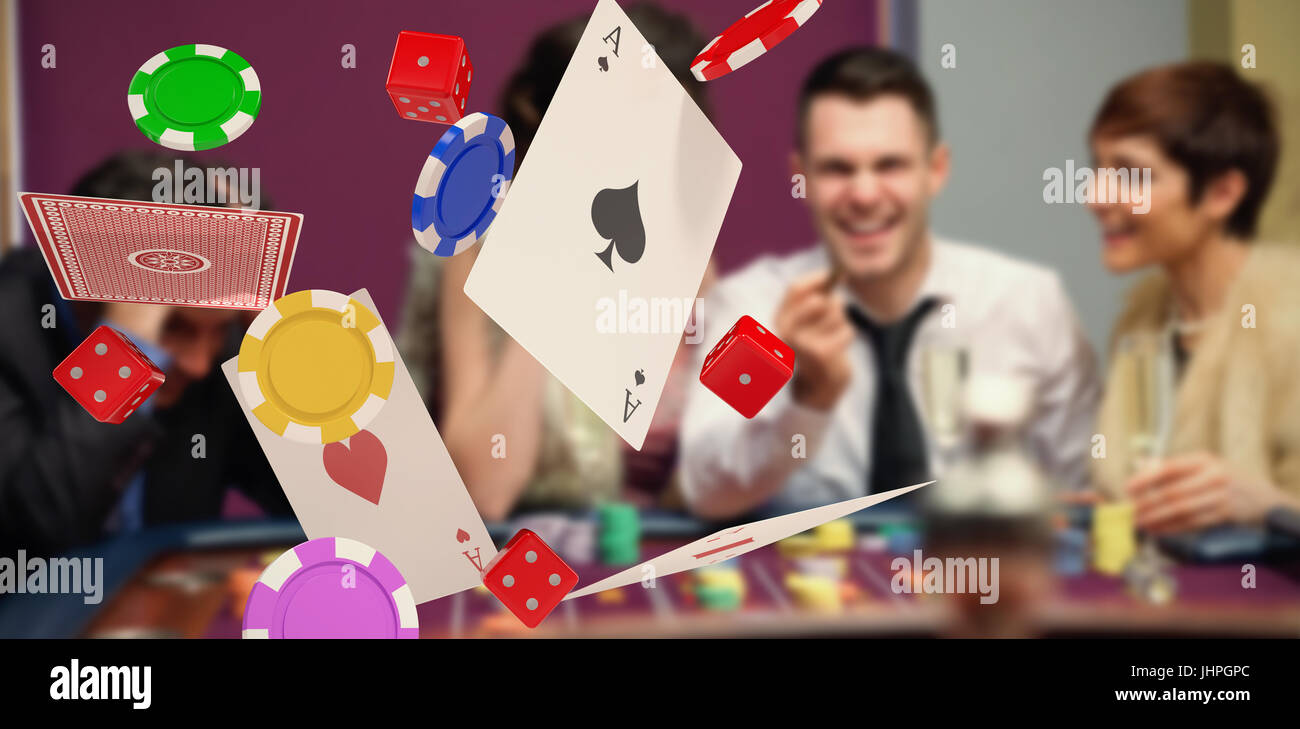 3D image of playing cards with casino tokens and dice against winner and loser at roulette table - Stock Image