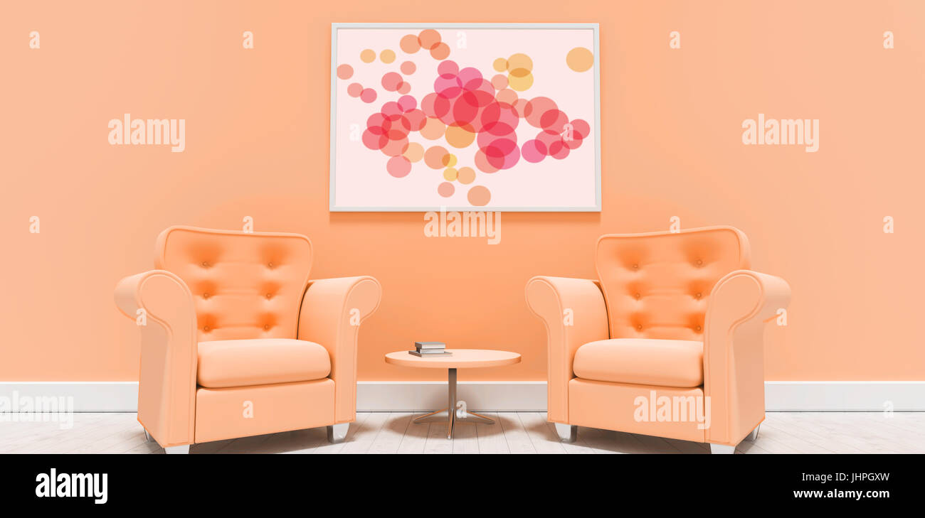 Graphic Image Of Colorful Circles Against Empty Armchairs Against Blank  Picture Frame