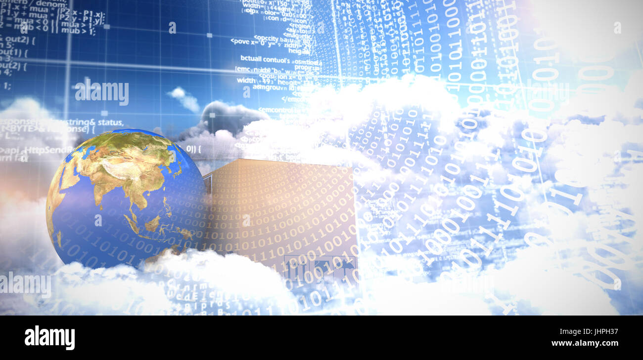 3D image of planet Earth and box against panoramic shot binary codes on blue screen - Stock Image
