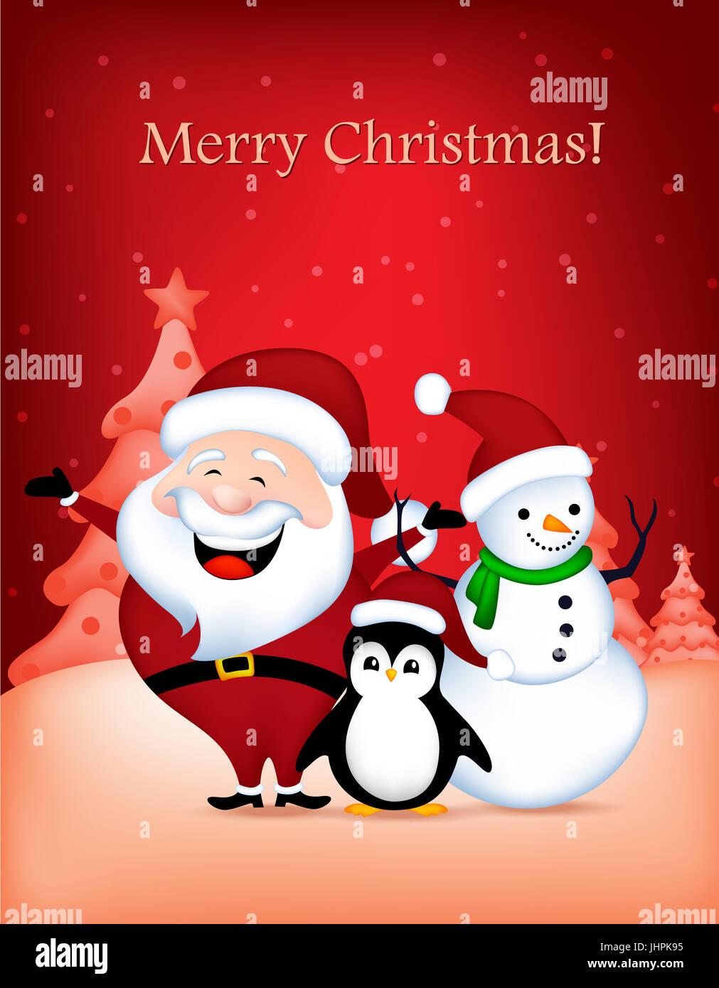 Cute santa claus snowman and penguin wishing a merry christmas stock cute santa claus snowman and penguin wishing a merry christmas greeting card m4hsunfo