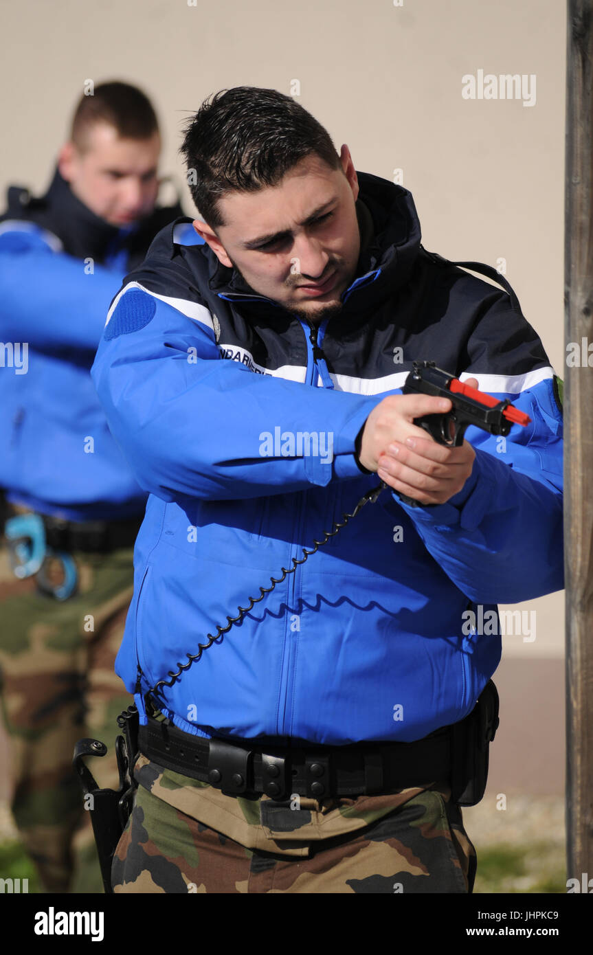 One week with the trainees of French National Gendarmerie Reserve, Lyon (France) - Stock Image