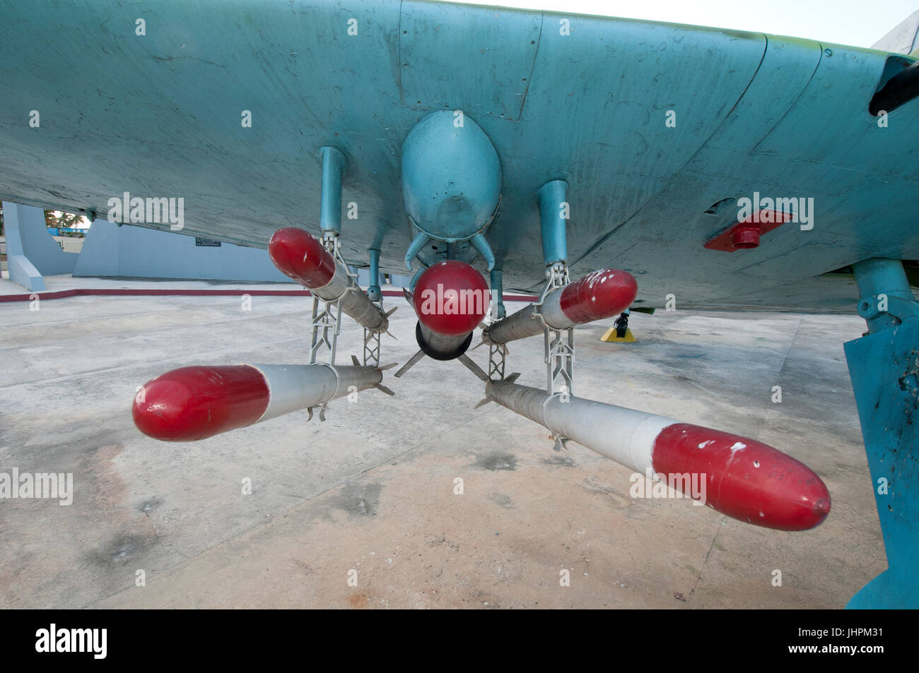 Cluster of bombs attached under a wing of a Hawker Sea Fury F-50 at the Bay of Pigs War Museum - Stock Image