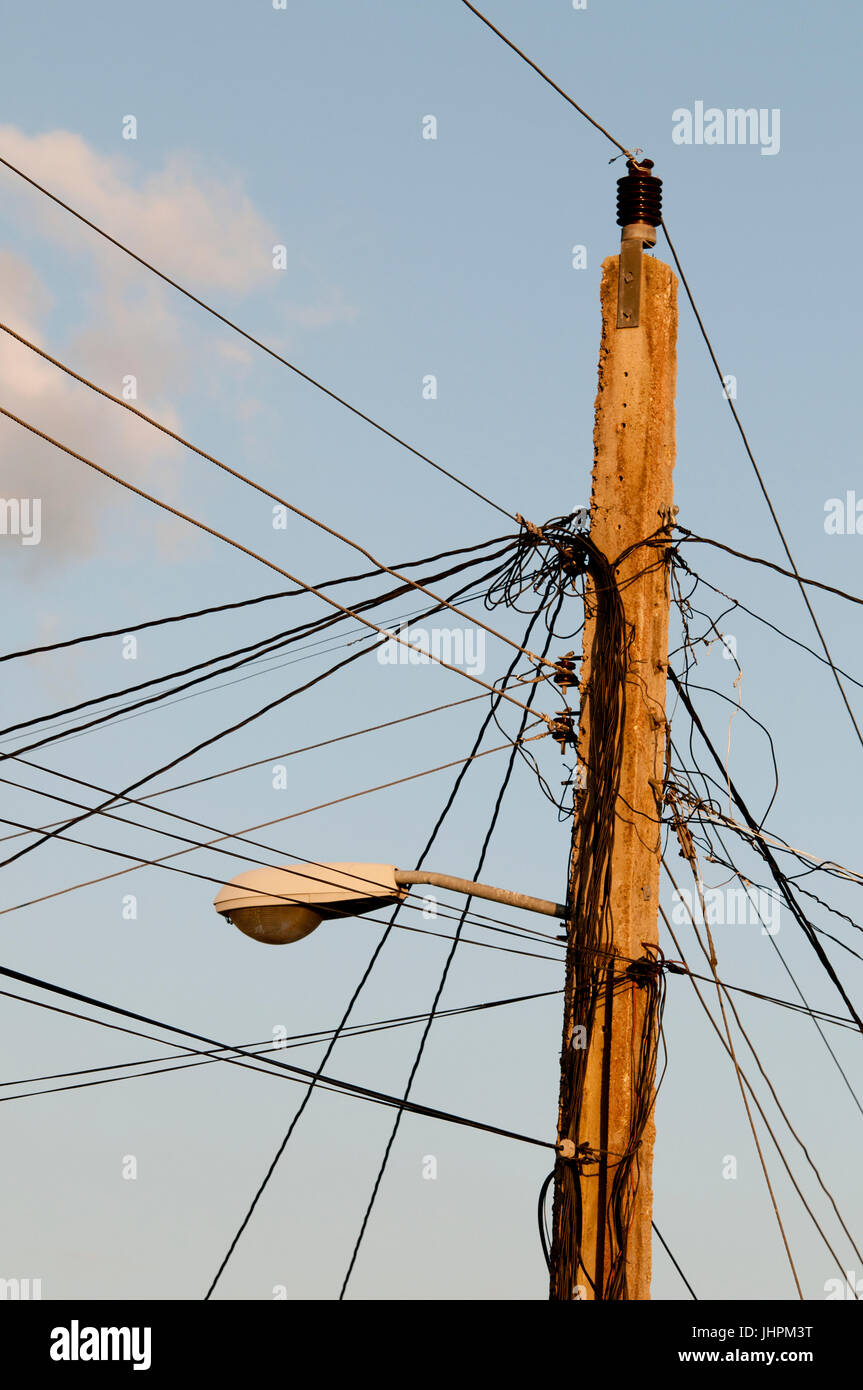 Electrical wiring on power pole in Cuba - Stock Image