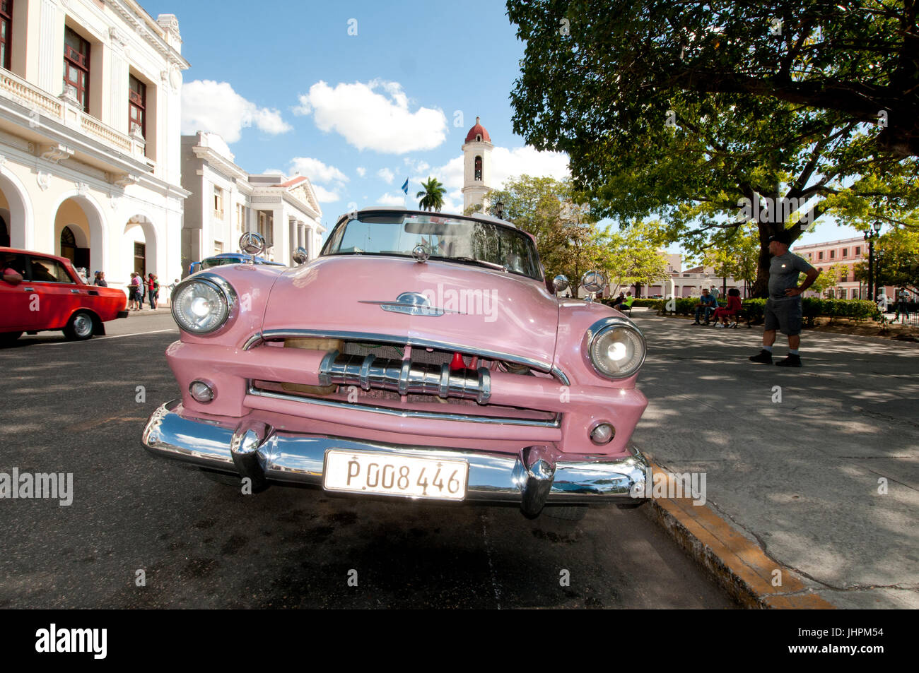 1953 Plymouth convertible in excellent condition in Cienfuegos Cuba - Stock Image