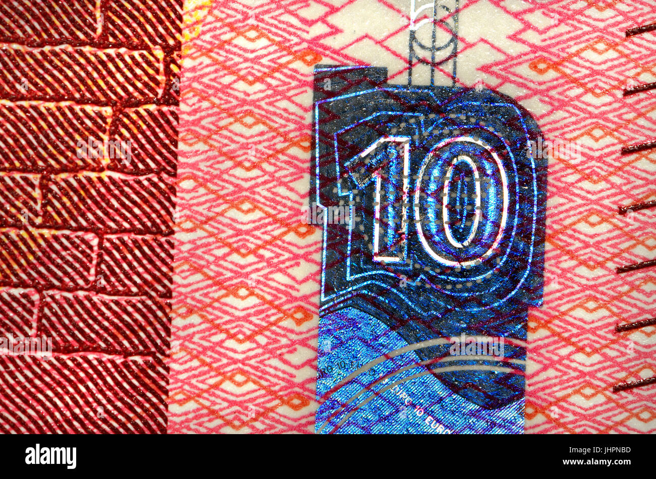 €10 banknote detail showing anti-forgery security features - new 'Europa' series, hologram Stock Photo