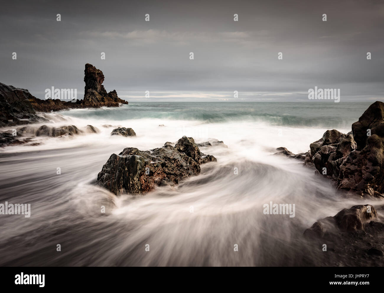 Sea stacks in western iceland - Stock Image