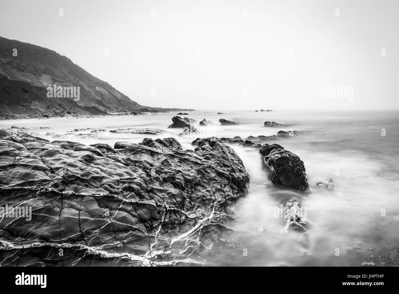 crackington haven in monochrome - Stock Image