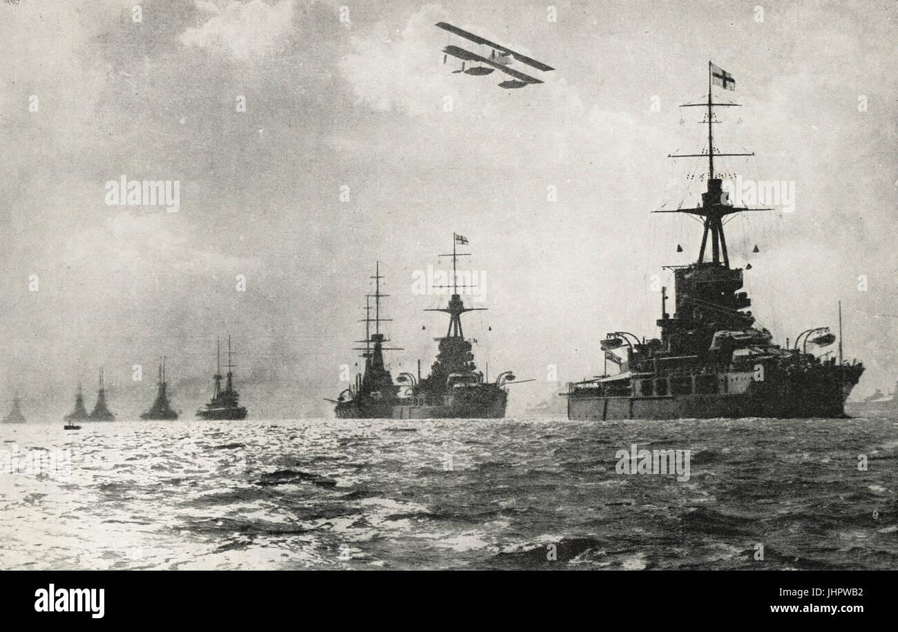 Grand Fleet led by iron Duke Super Dreadnought - Stock Image