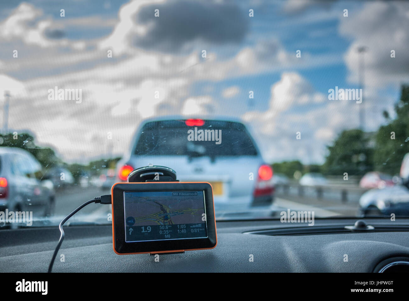 GPS navigation by car in a traffig jam, Scotland - Stock Image