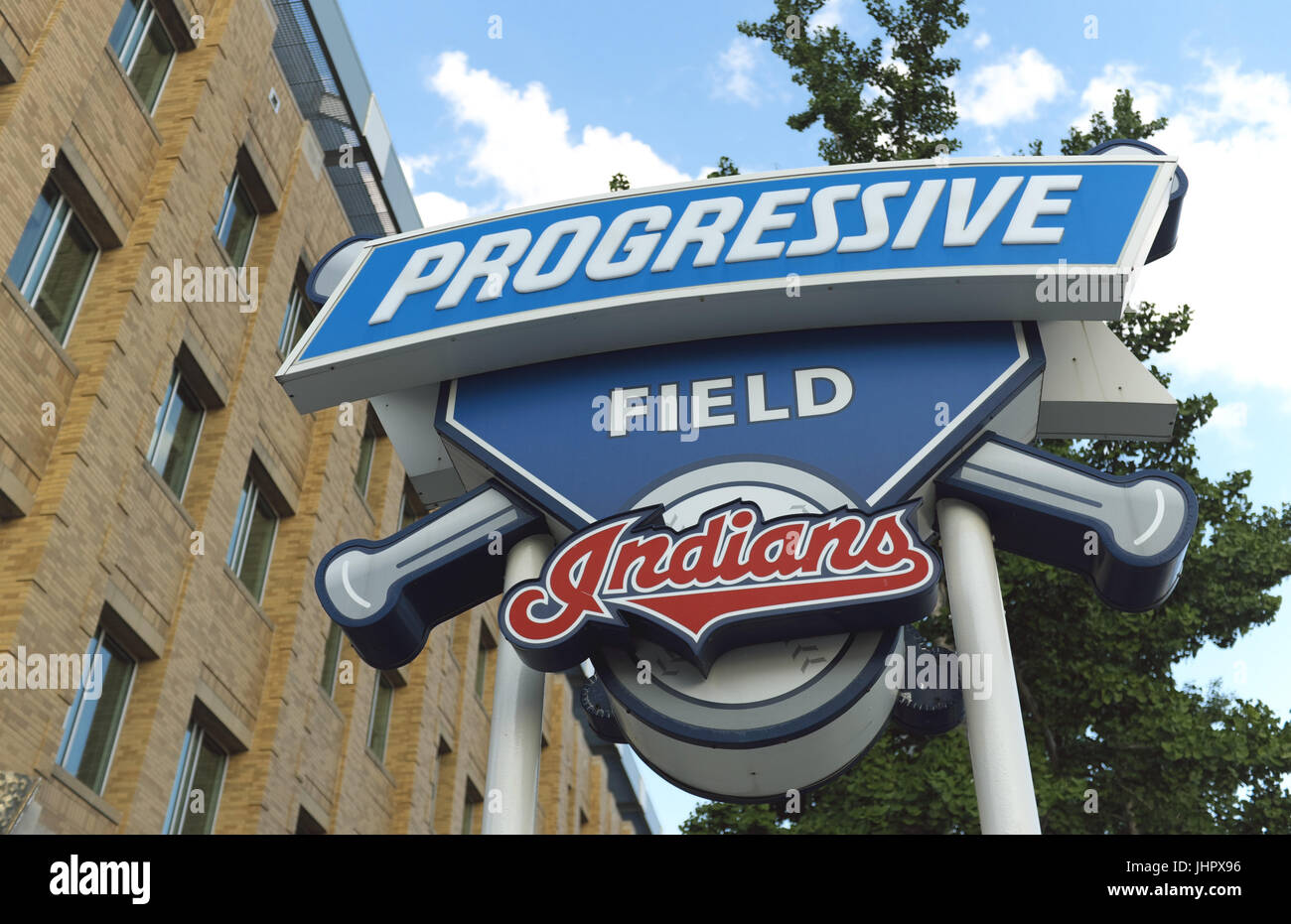 A sign in front of  Progressive Field in downtown Cleveland, Ohio, USA, the home ballpark for the Cleveland Indians - Stock Image