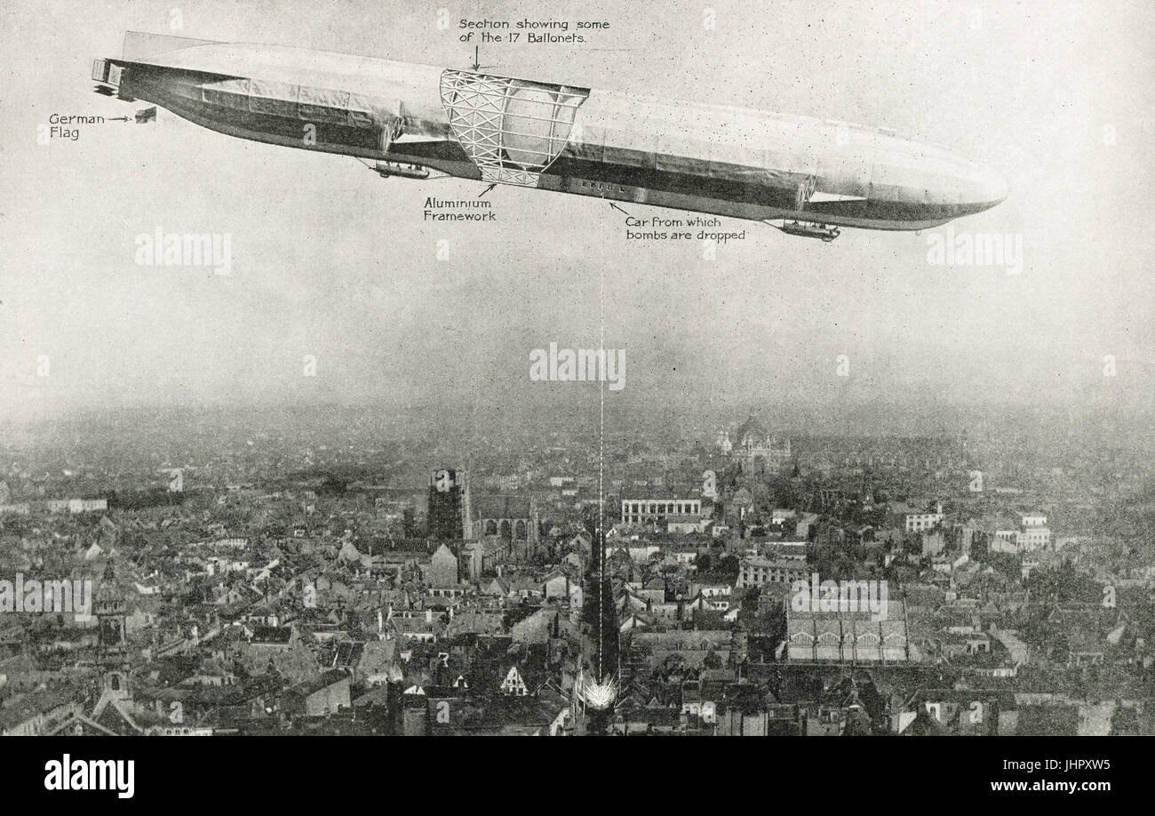 diagrammatic representation of Zeppelin attack on Antwerp - Stock Image