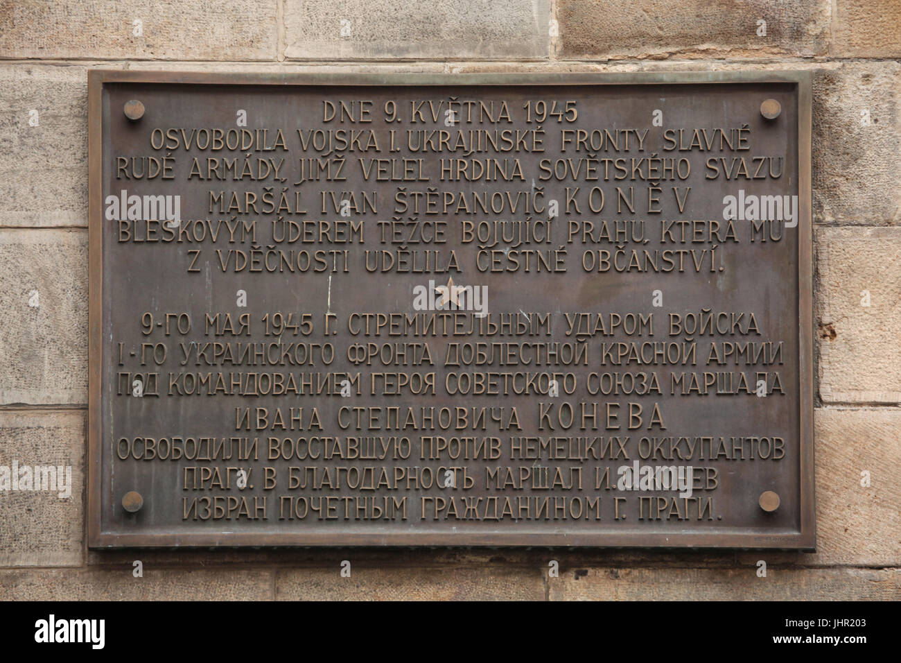 Commemorative plaque devoted to the liberation of Prague by the Red Army on 9 May 1945 installed on the Old Town - Stock Image