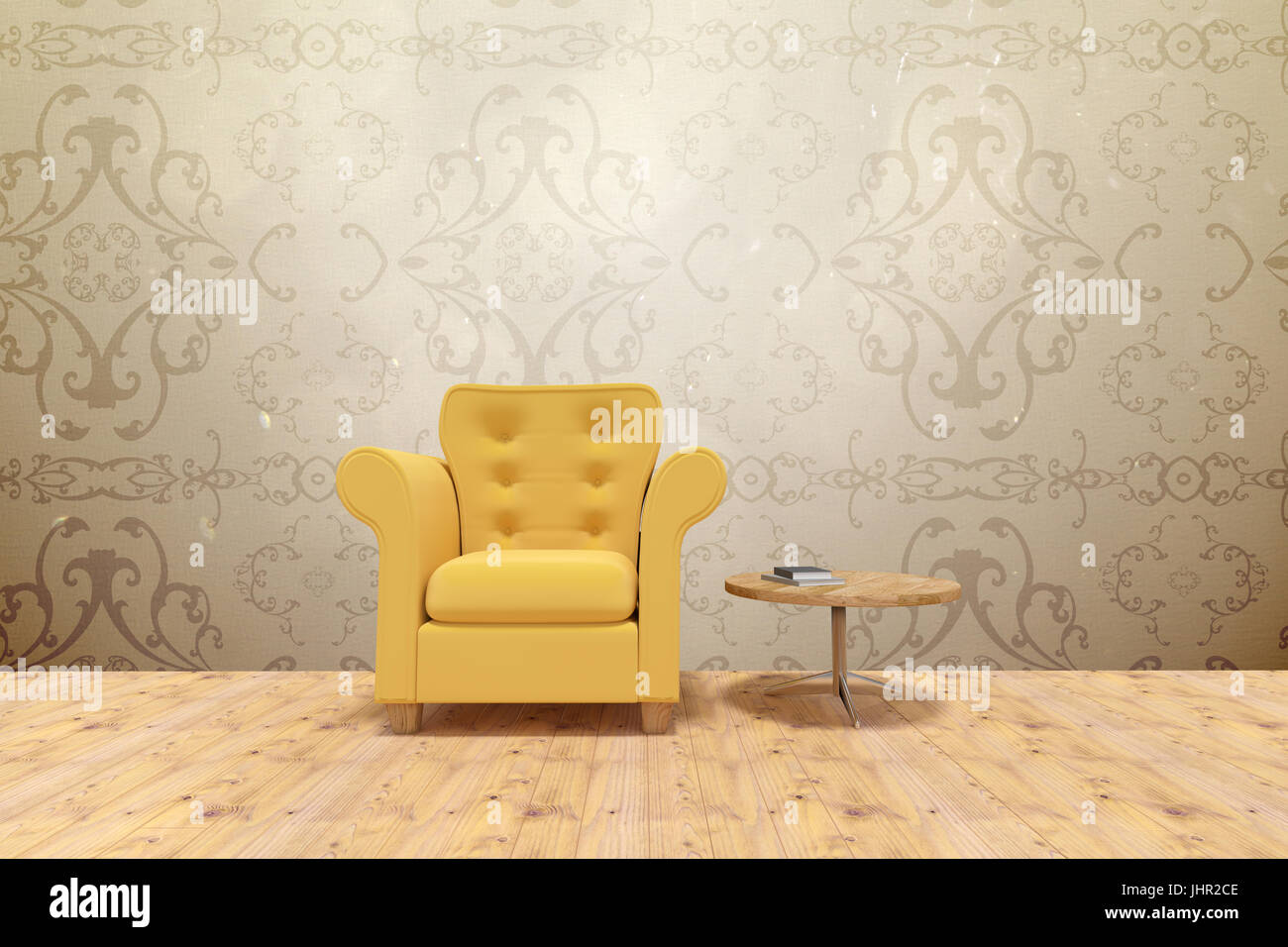 Yellow armchair by table on floor  against elegant patterned wallpaper in neutral tones - Stock Image