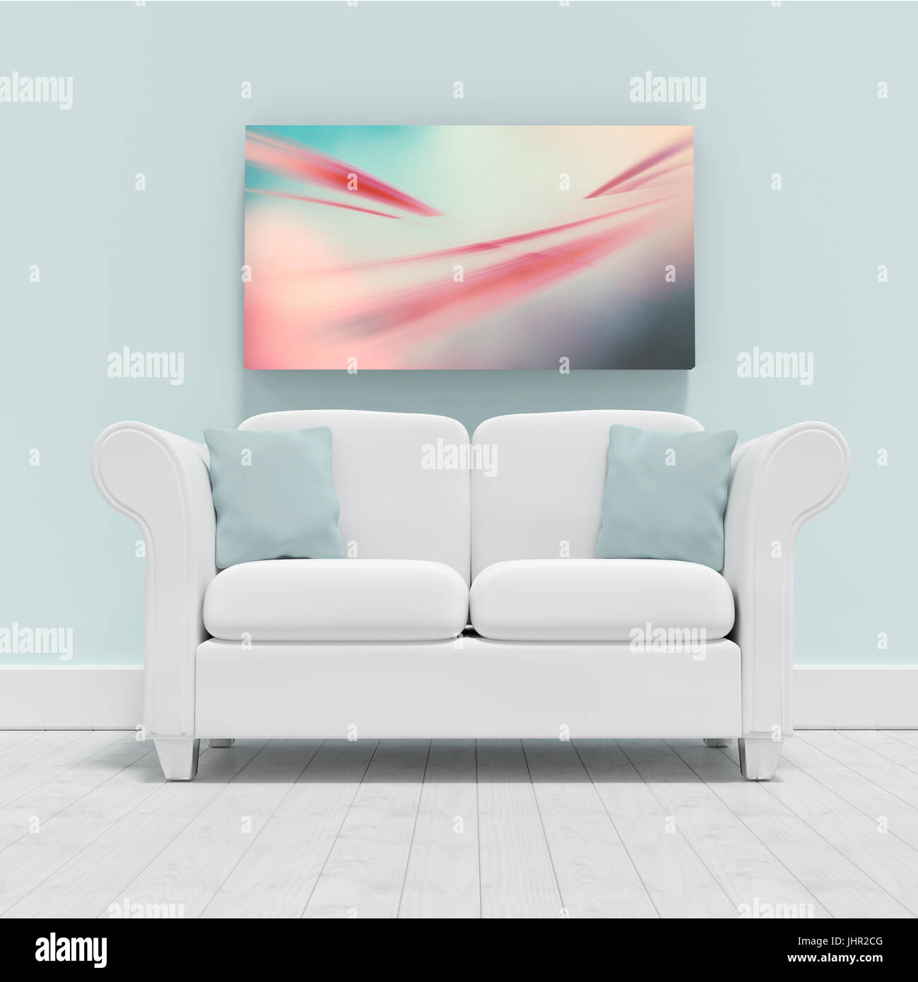 Empty couch against blank picture frame  against abstract background Stock Photo