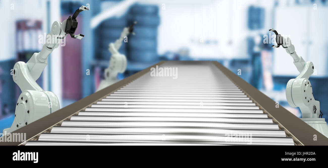 3D image of empty production line against empty garage - Stock Image