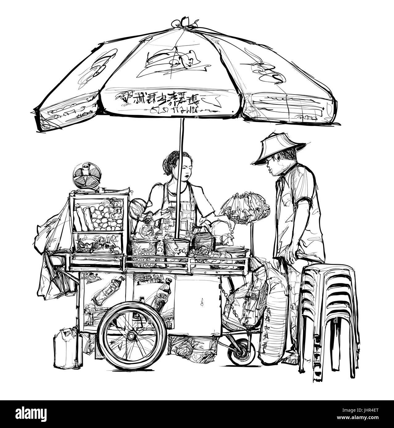 Street food seller in Bangkok (street, food, thailand) - vector illustration - Stock Image