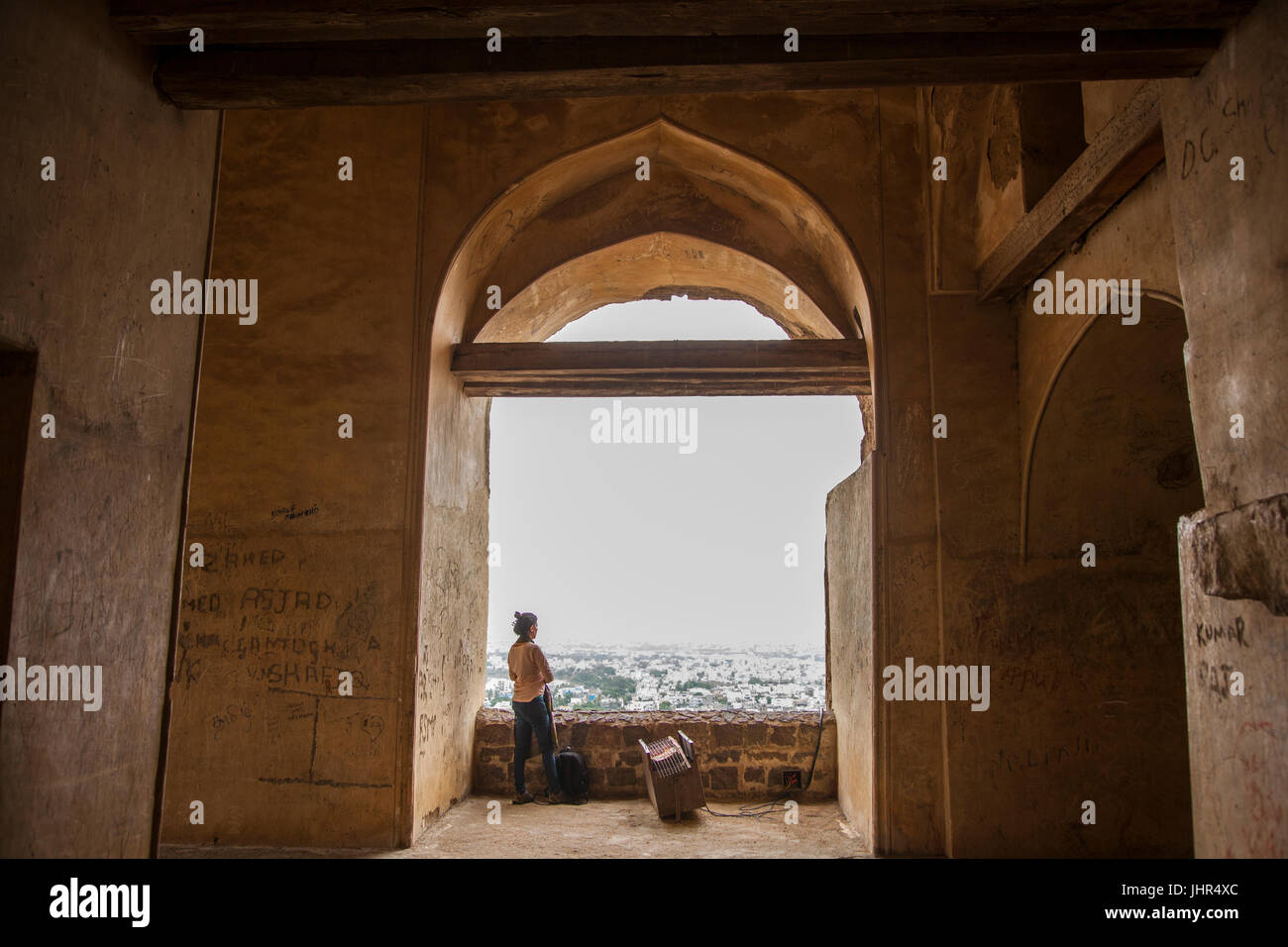 Introspection at the Golconda Fort, Hyderabad, India - Stock Image