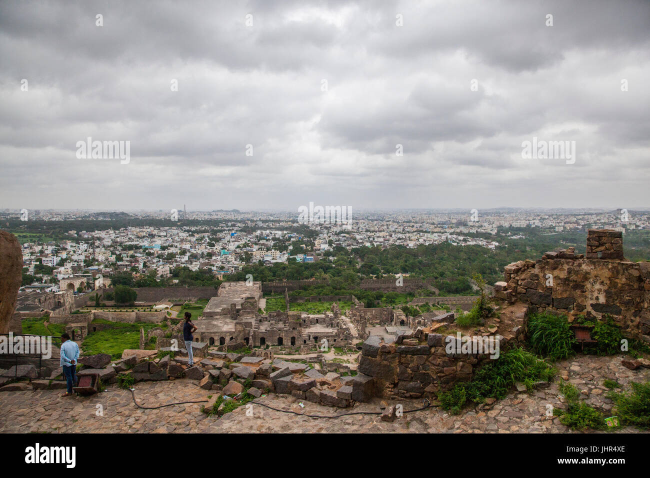 A view of the city of Hyderabad from atop Golconda Fort, India - Stock Image
