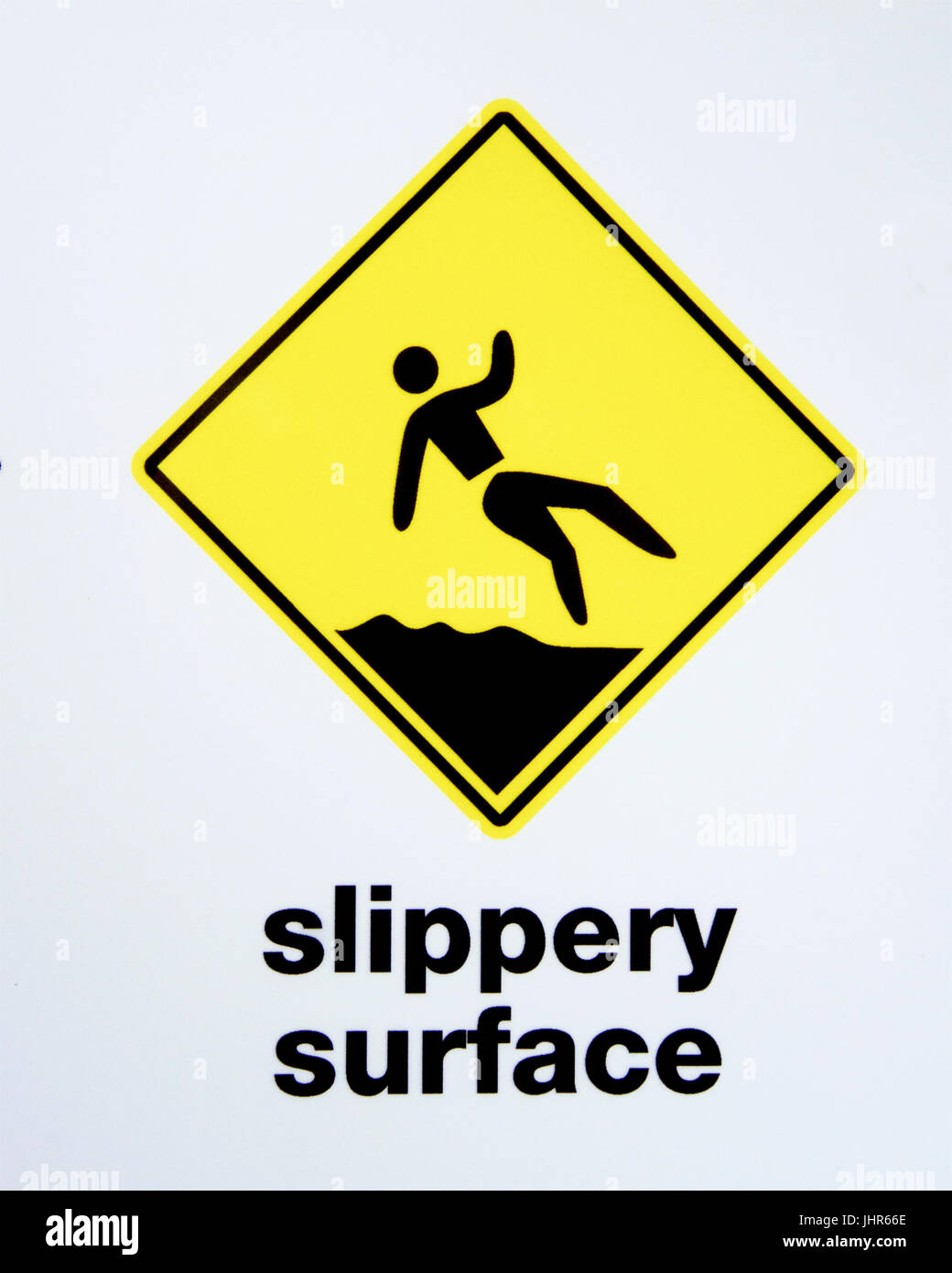 Warning slippery surface signage. - Stock Image