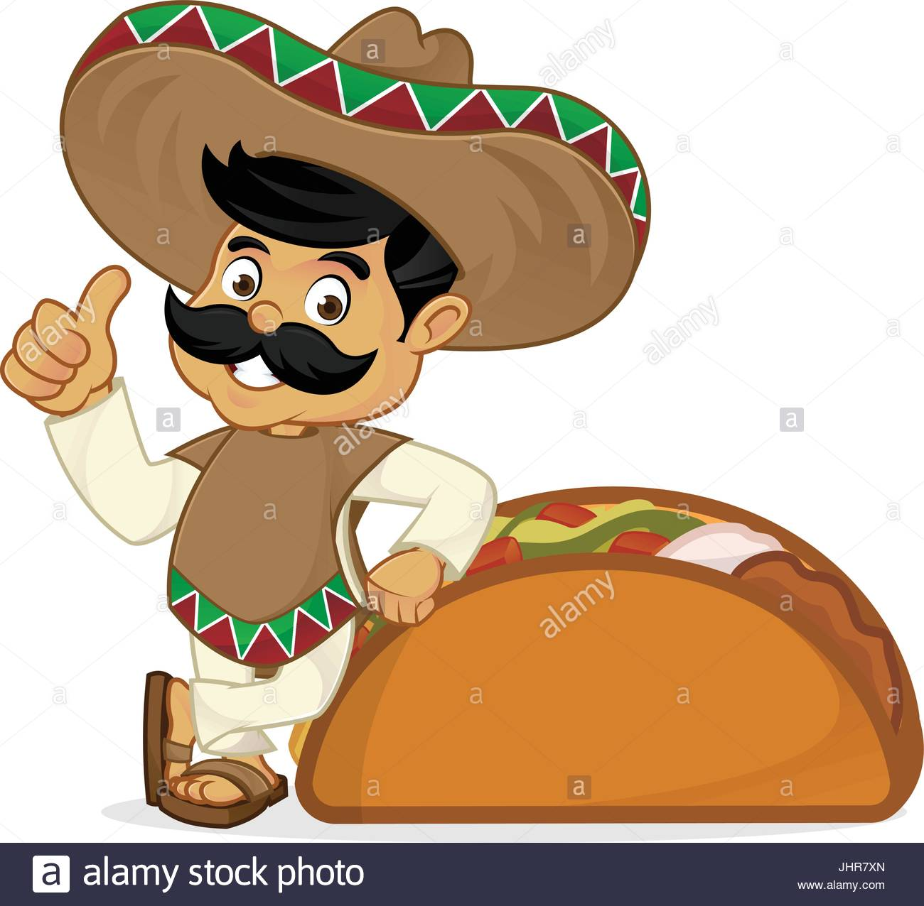 Mexican man cartoon leaning on taco isolated in white background ...