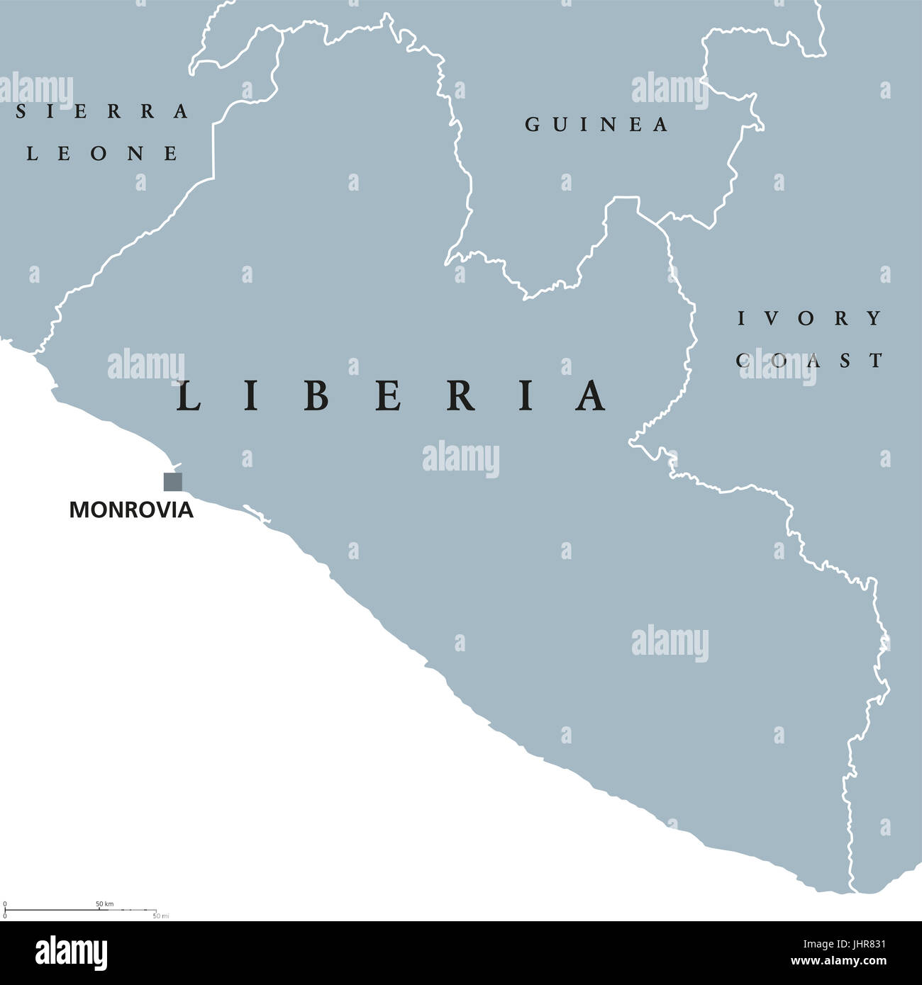 Liberia Political Map With Capital Monrovia And International Stock