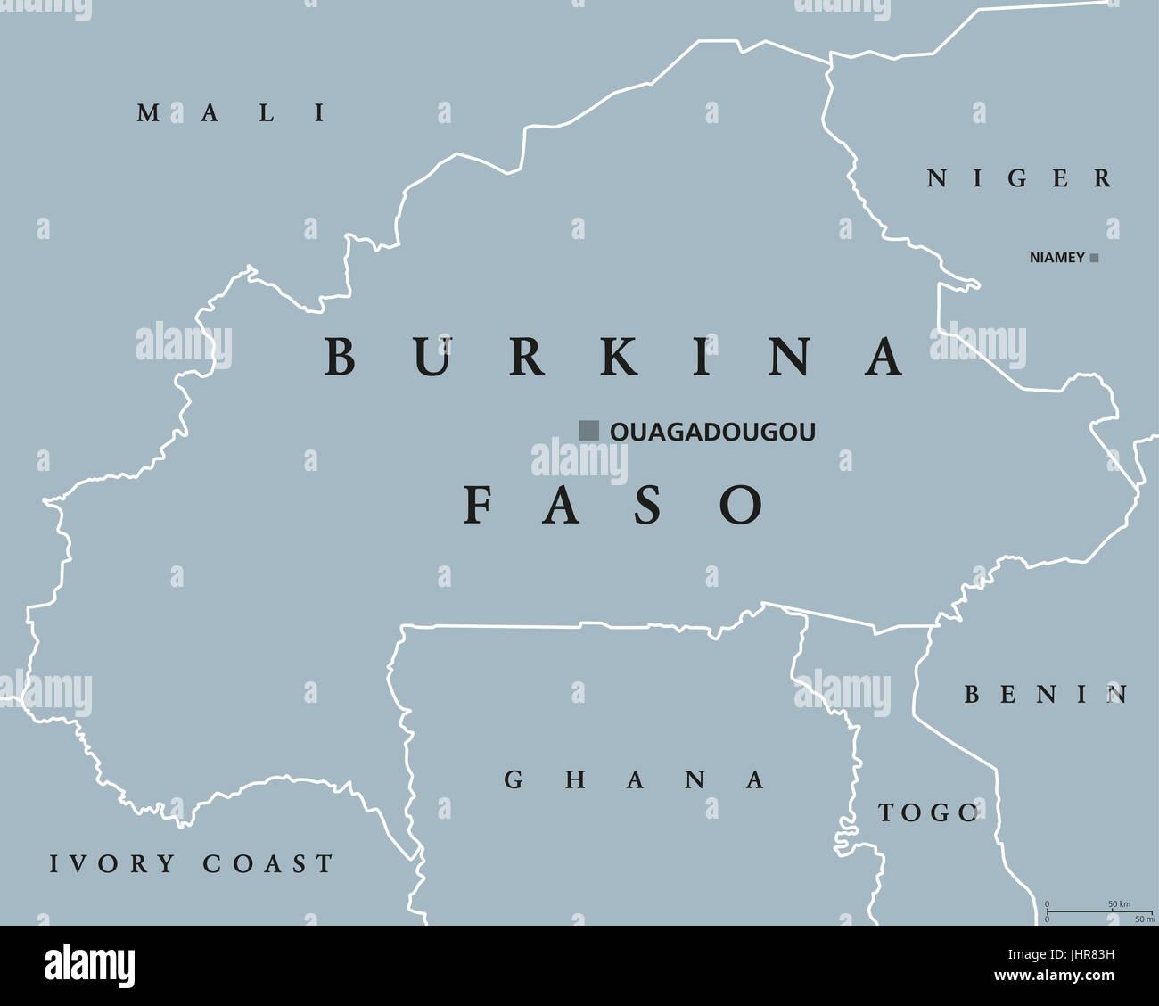 Burkina Faso political map with capital Ouagadougou Landlocked