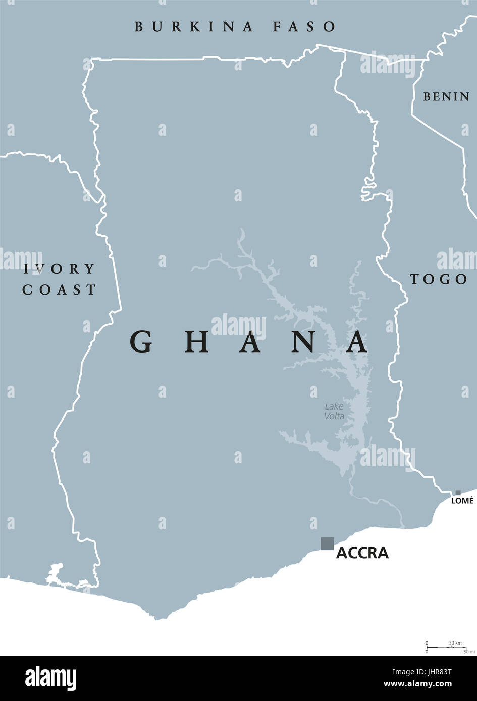 Ghana In Africa Map.Ghana Political Map With Capital Accra Republic And Country In West